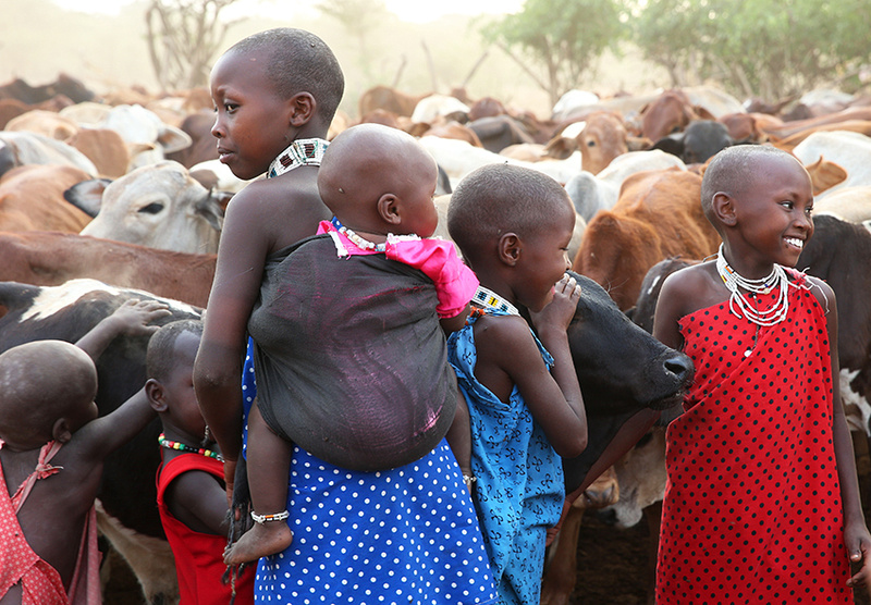 Children in a traditional Masaï village - South Rift valley