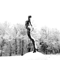 Snow covered sculpture - French artist Annick Dumarchey